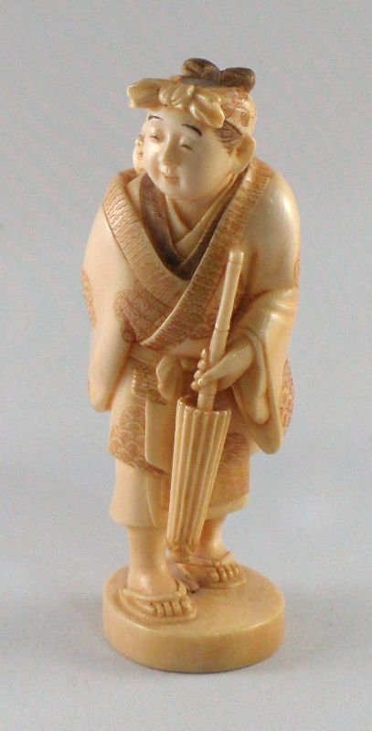 827: Chinese Ivory Women Carrying Baby on Back