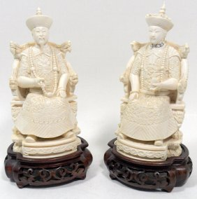 Chinese Ivory Figures Of An Emperor And Empress