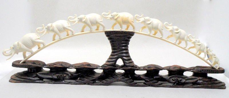 833: Chinese Carved Ivory Elephant Bridge