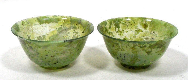 834: Pair of Chinese Jade Rice Bowls