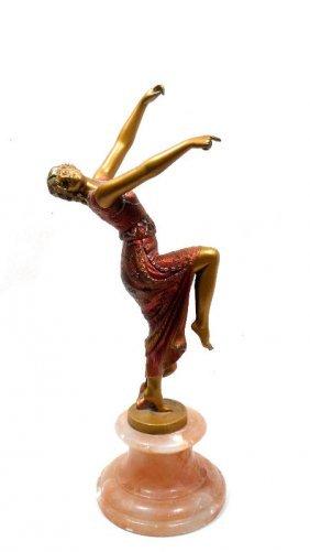 Art Nouveau Polychrome Figure Of Dancer On Marble