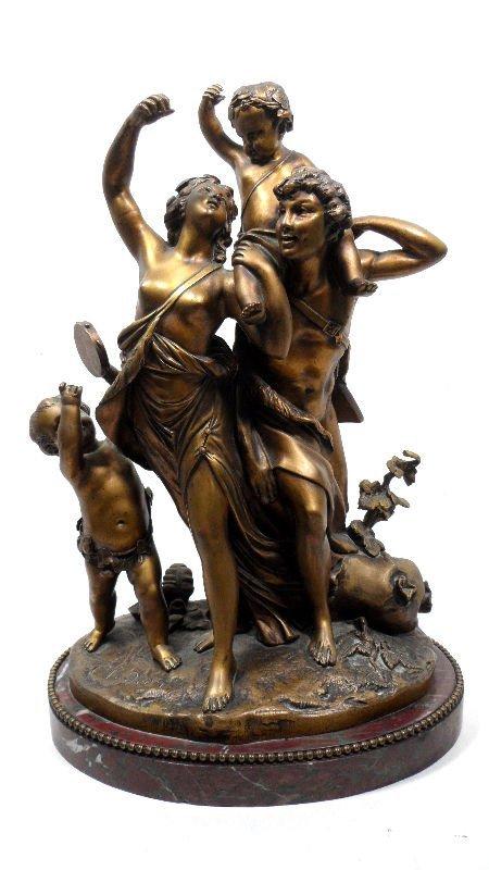 839: Clodion Bronze Figure of Man & Women & 2 Children