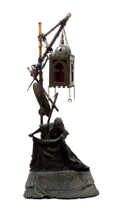 840: Antique Austrian Vienna Bronze Lamp