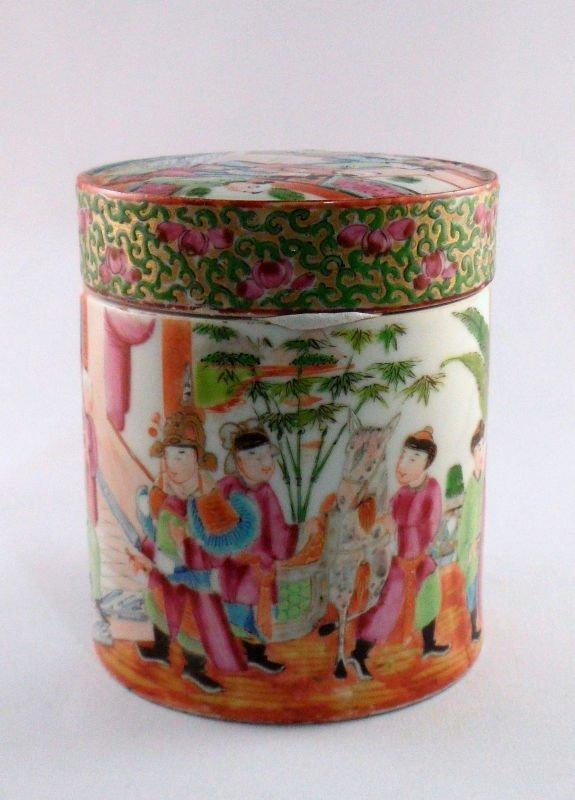 845: Chinese Rose Medallion Covered Jar