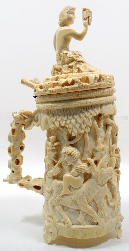 906: Continental Carved Ivory Tankard