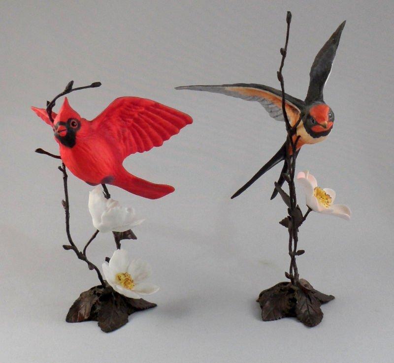 806A: 2 Royal Worcester Bronze Porcelain Bird Figurines