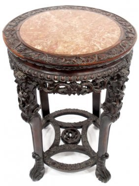 Chinese Carved Inset Marble Top Pedestal