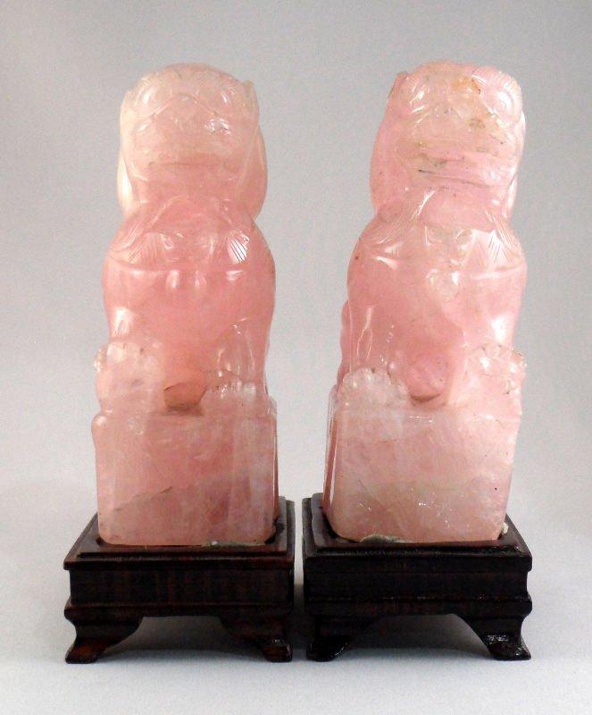 836A: Chinese Rose Quartz Foo Dogs (pair)