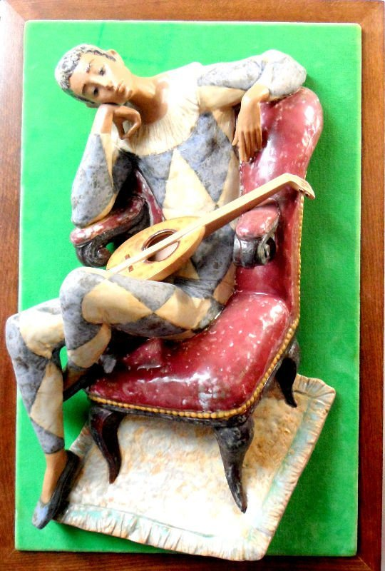 839A: Lladro Mounted Harlequin Plaque