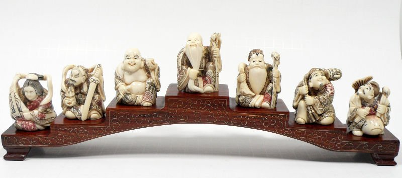 842A: Chinese Ivory Carved 7 Immortals on Stand