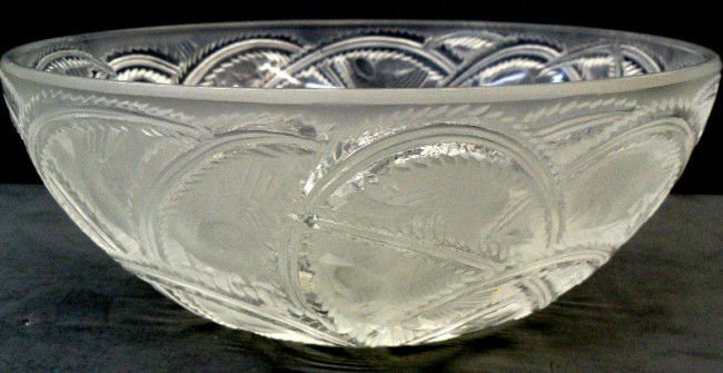 845A:Lalique Crystal Pinsons Bowl Signed Lalique France
