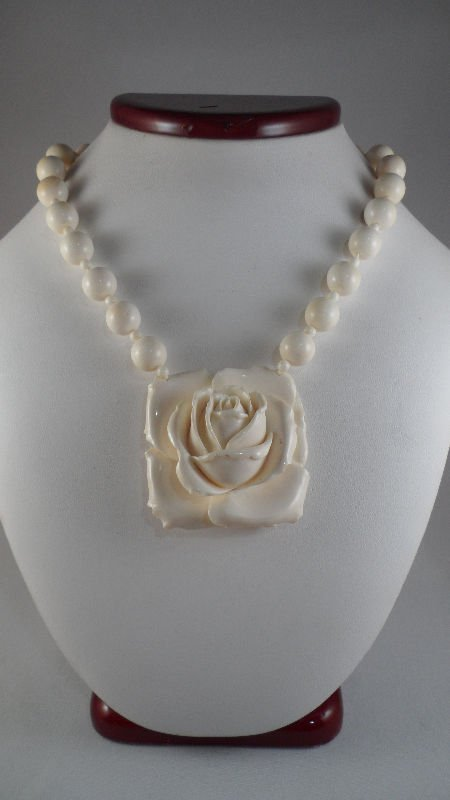 848A: Antique Ivory Beaded Necklace w/ Rose