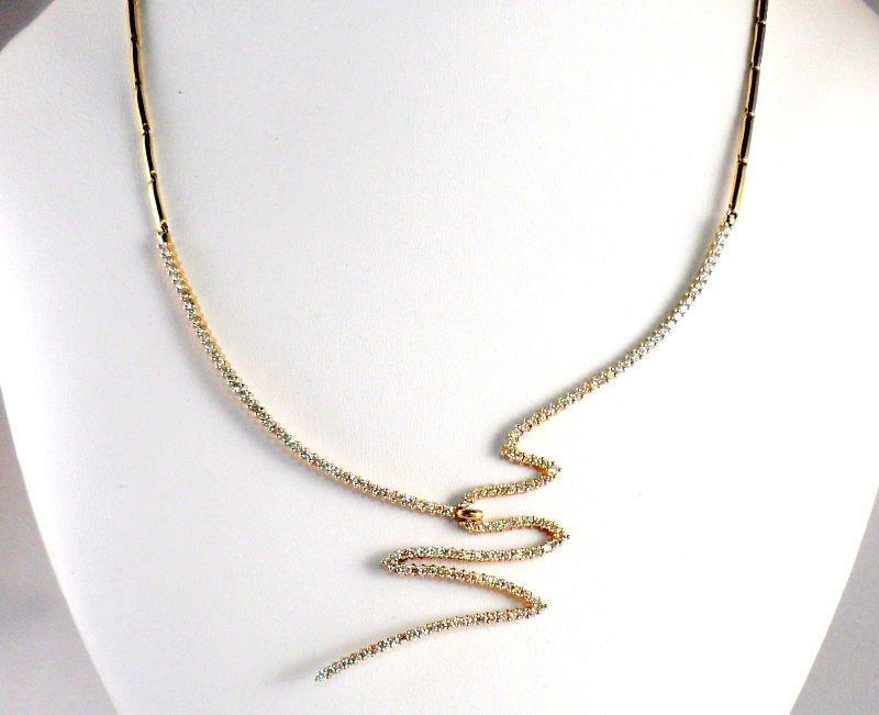 805A: Jose Hess Designer 14 kt Gold & Diamond Necklace