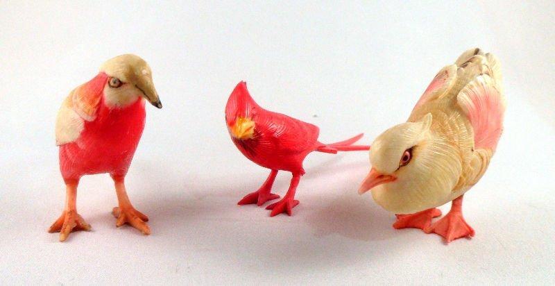 801A: Set of Three Japanese Polychrome Ivory Birds