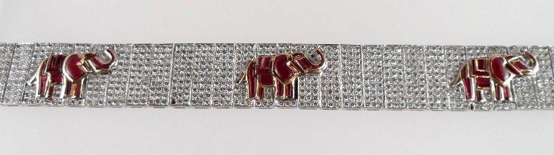 808A: Magnificent 14 kt 17.00 ct Diamond Elephant Brace