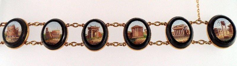 826A: Antique Micromosaic (6) Medallion Bracelet