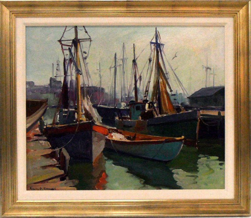 829A: Emile Albert Gruppe Oil Nautical Painting