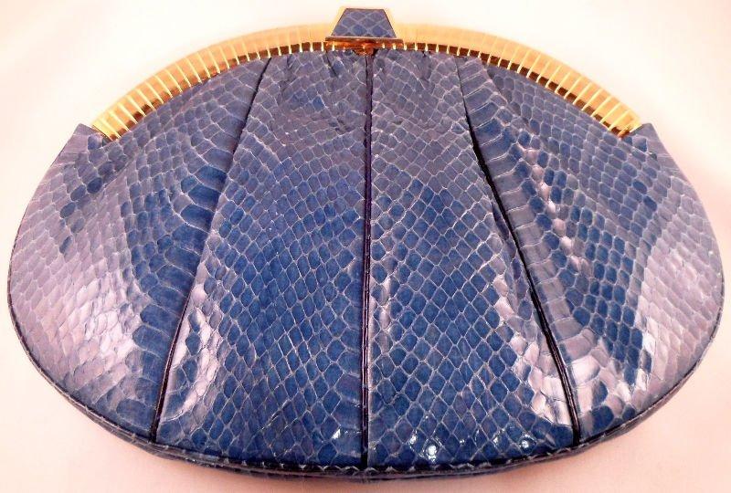 832A: Judith Leiber Blue Snakeskin Evening Bag