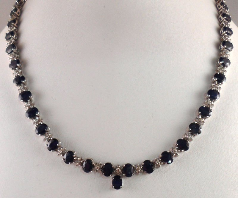 837A: 14 kt WG Diamond & Sapphire Necklace