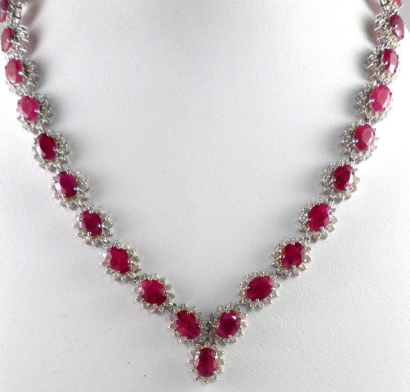 841A: 14 kt WG Diamond & Ruby Necklace