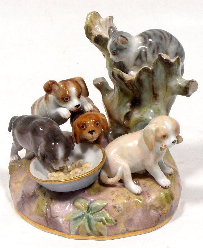 846A: Meissen Porcelain Dog & Cat Group