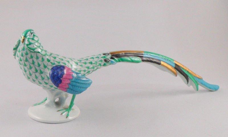2: Vintage Herend Green Fishnet Pheasant Figurine