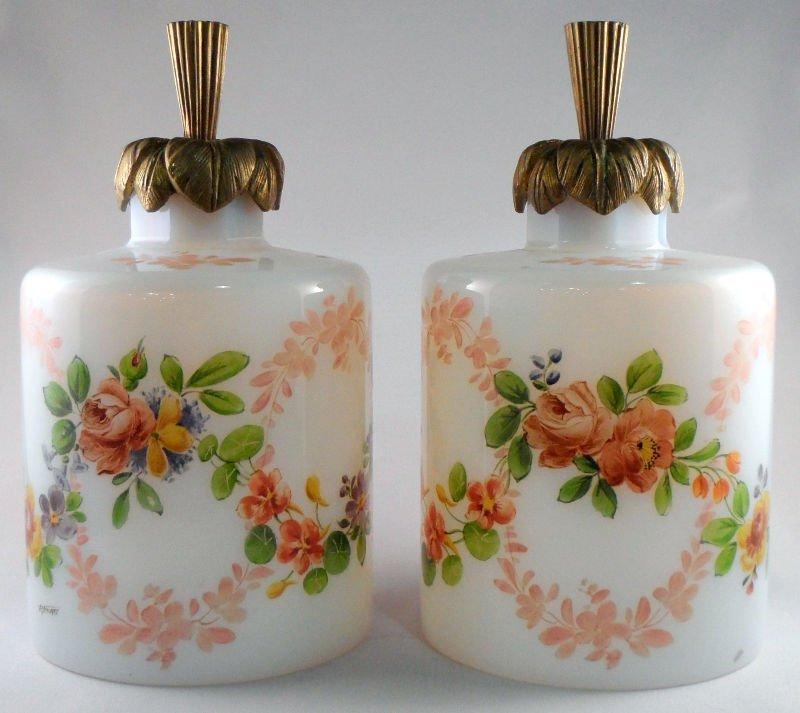 11: Pair of Signed R. Noirot Opaline Bottles