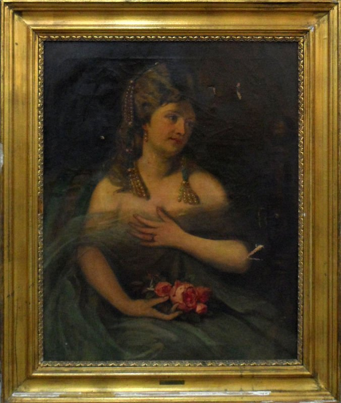10A: Antique Oil Painting on Canvas by M. Kurzweil