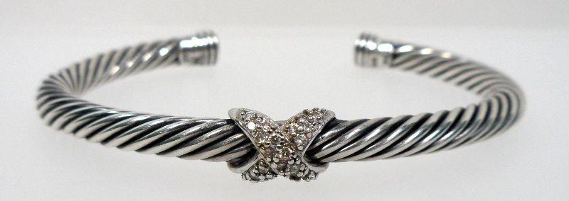 3A: David Yurman Pave Diamond Sterling Bracelet