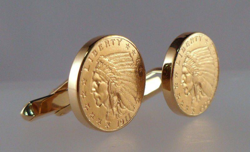 27A: U.S. Indian Head Solid Gold Coin Cufflinks