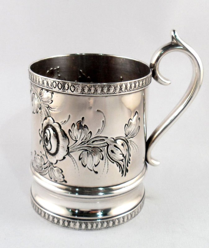 303: Antique American Coin Silver Cup by Nelson Haight