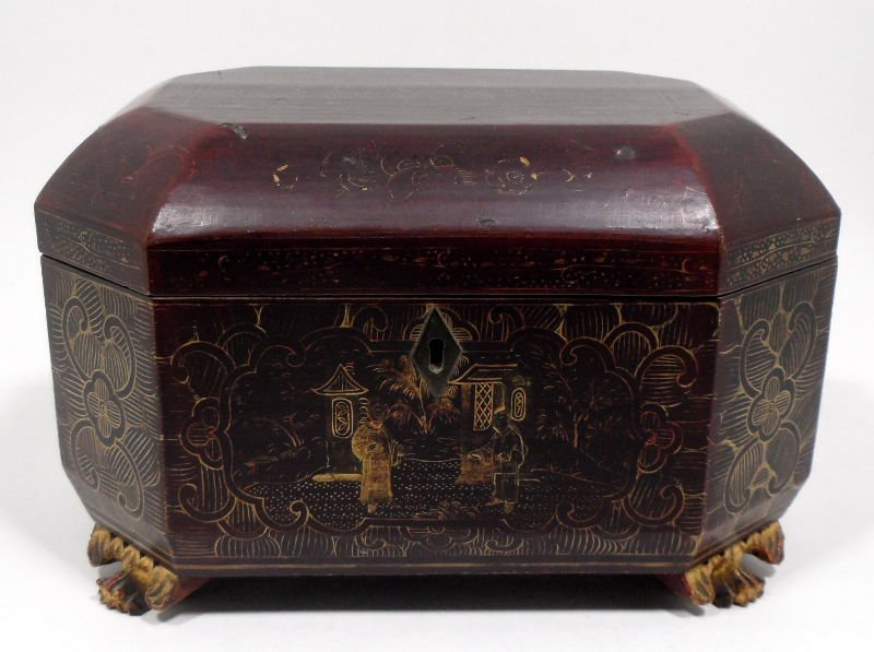 310: Antique Chinese Footed Tea Caddy