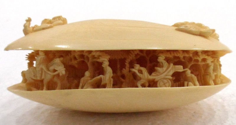 314: Carved Ivory Oyster Shell w/ Village Scene