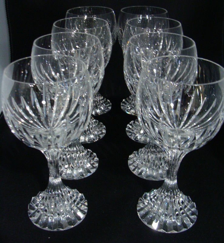 605: 8 Baccarat Crystal Massena Red Wine Glasses