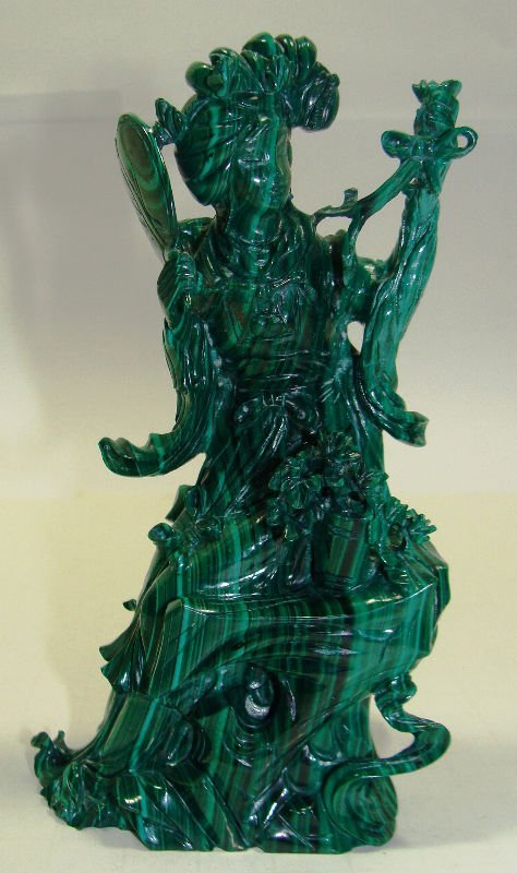 609: Chinese Carved Malachite Quan Yen Figure