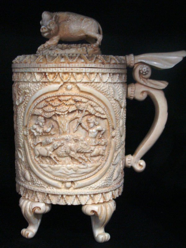 611: Continental Hand Carved Ivory Figural Tankard