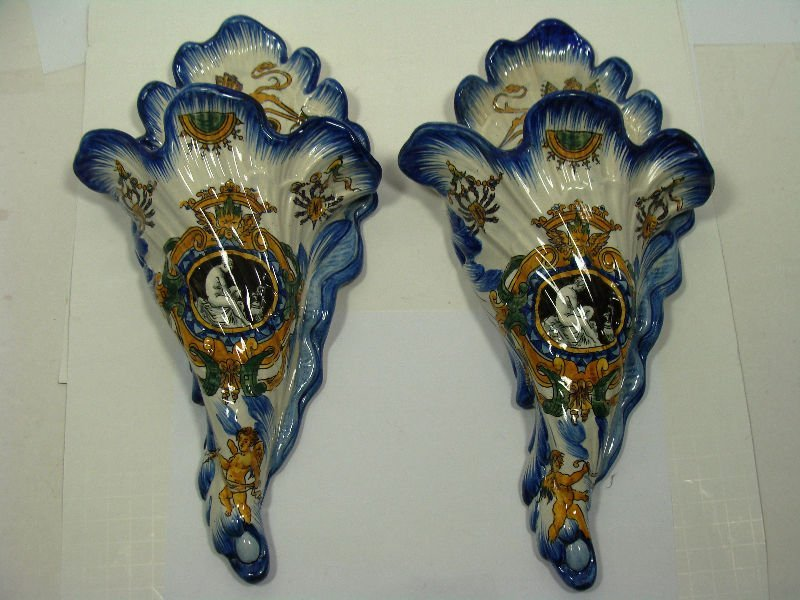 619: Pair of Majolica Porcelain Wall Sconces