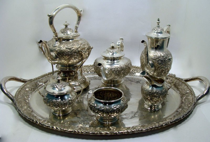621: 9 Pc Kirk & Son Repousse Sterling Teaset