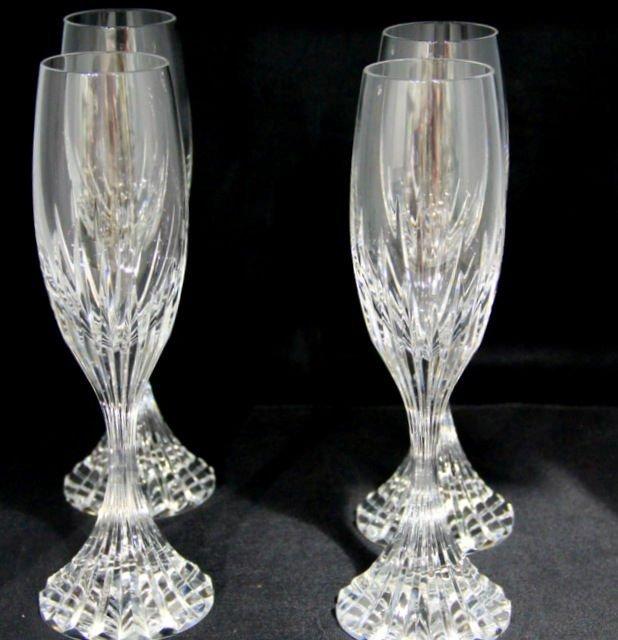 4: Baccarat Crystal  Massena Champagne Flutes (4)