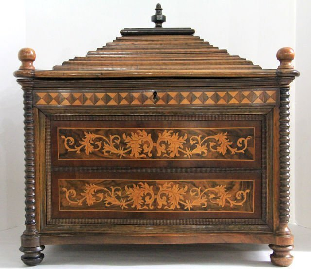 13: Dutch Marquetry Inlay Footed Mail Box Holder
