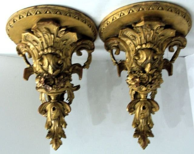 19: Pair of Italian Giltwood Wall Sconces