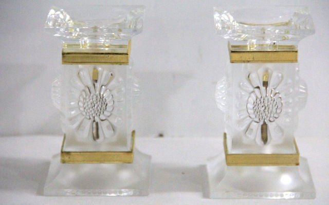 20: Lalique Crystal Paquerettes Candlestick Holders (2)