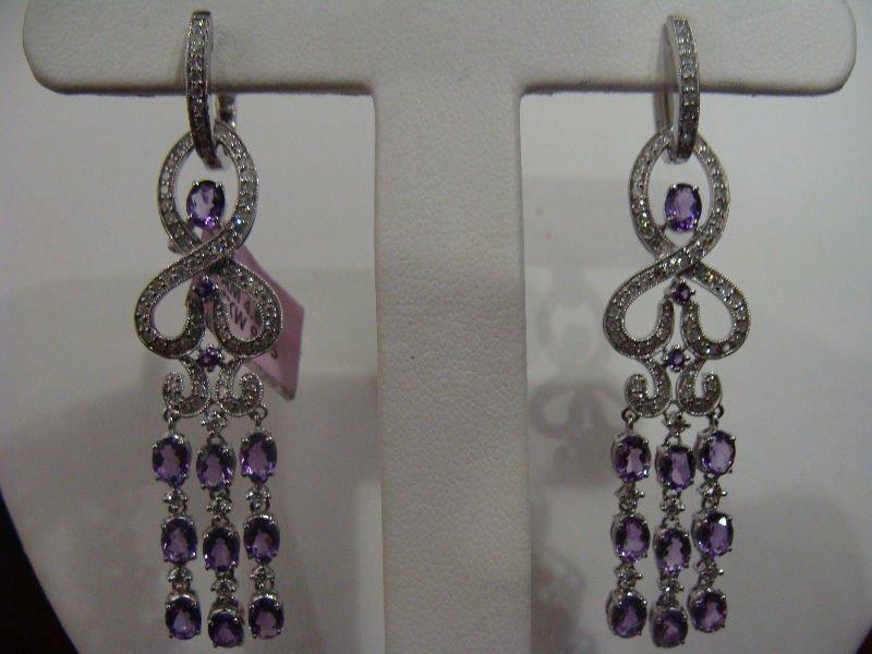 5A: 14kt White Gold Diamond & Amethyst Earrings