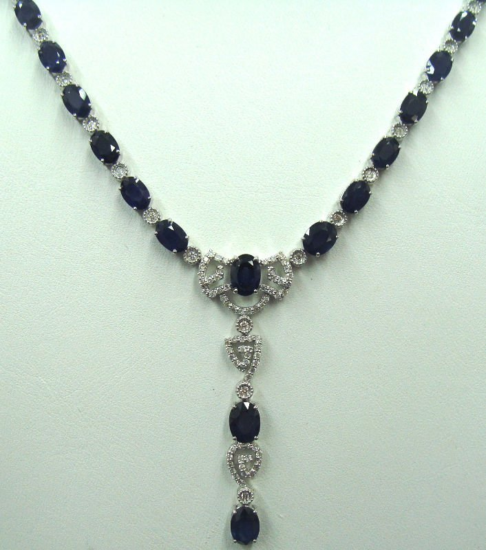 15A: 18kt White Gold Diamond & Sapphire Necklace