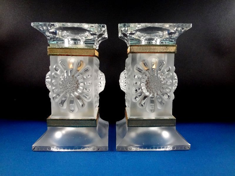 307: Pair of Lalique Crystal Candlestick Holders