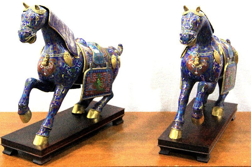 314: Pair of Chinese Cloisonne Horses