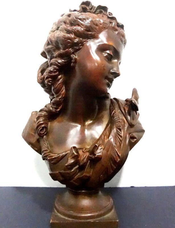 316: Signed A. Peiffer Boyer Bronze Bust Of A Woman
