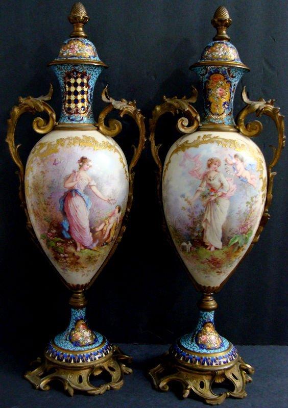 636: Pair of Sevres Champleve & Enamel Bronze Urns