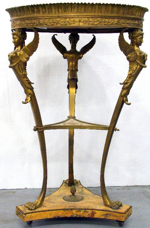 564A: Napoleon Gilt Bronze Porcelain Gueridon