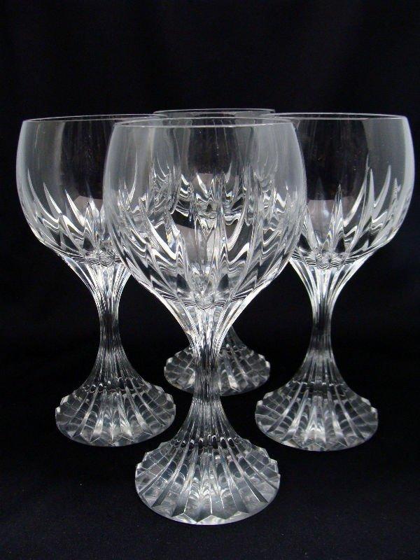 803: 4 Baccarat Crystal Messena Goblets